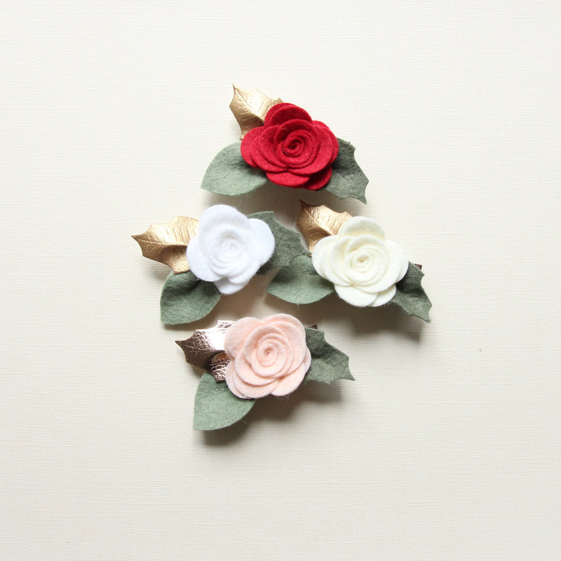 Christmas Edition * baby rose headband/ clip - white