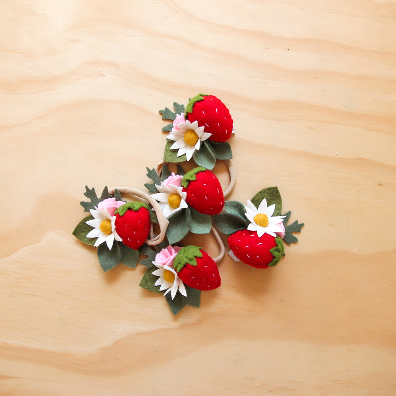 Strawberry headband/ hair clip
