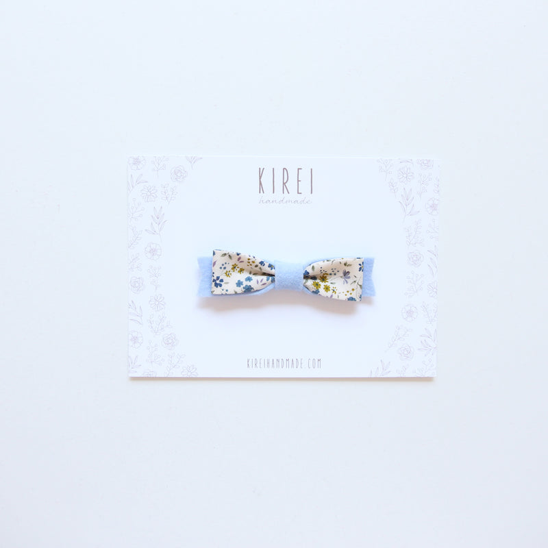 Floral bow headband - sky blue