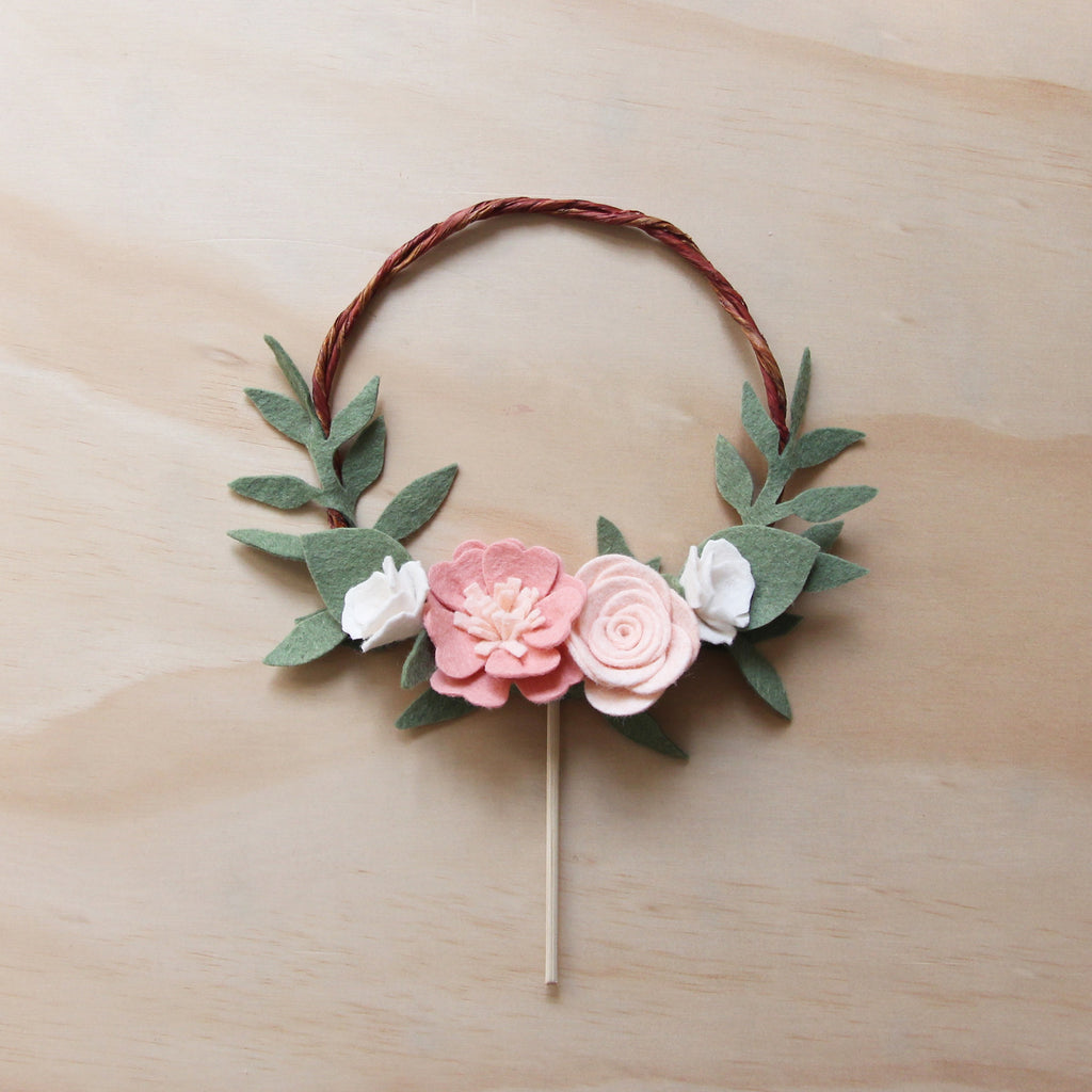 Flower wreath cake topper - boho style
