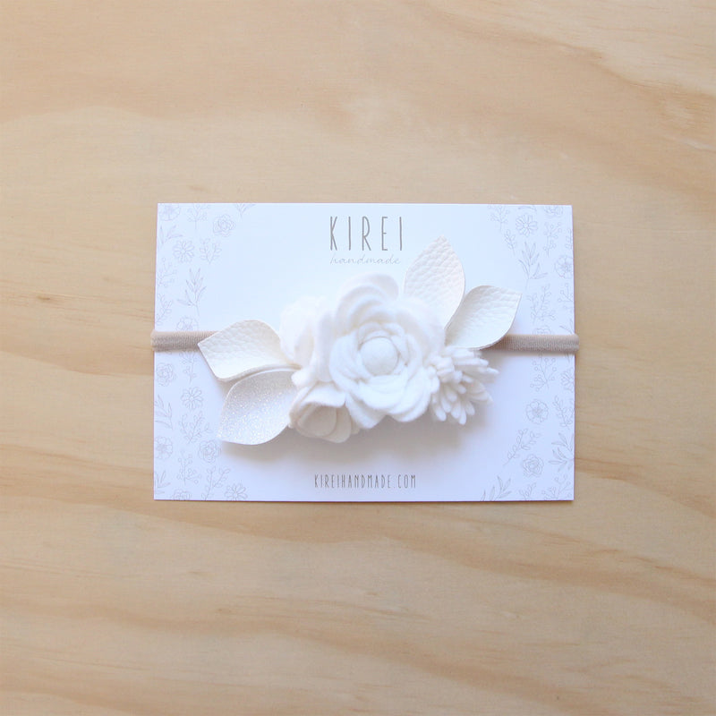 Pure White Luxe Posy Headband