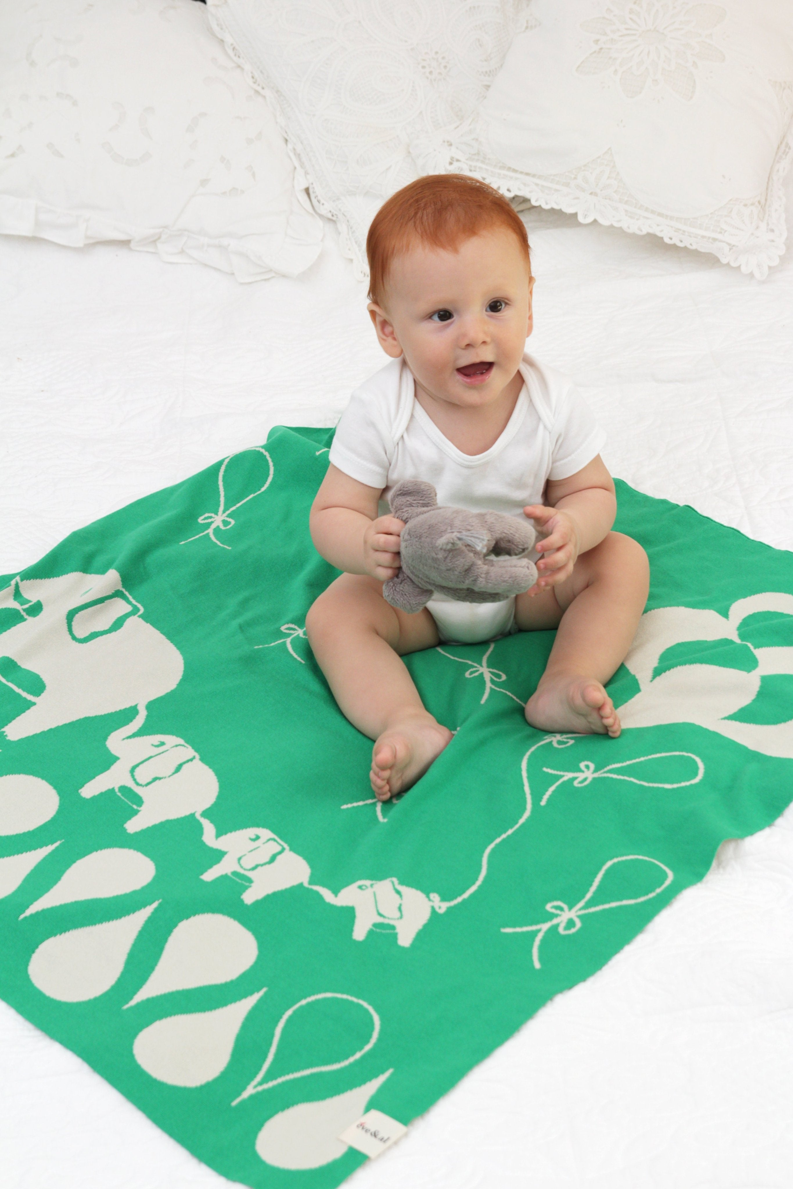 Elephant Family Baby Blanket   Green U0026 Beige