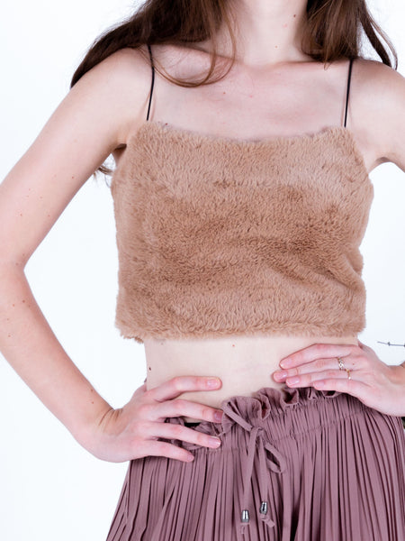 Brownie Faux Fur Crop Top