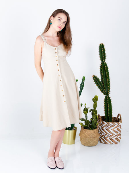 Mira Button Down Midi Dress