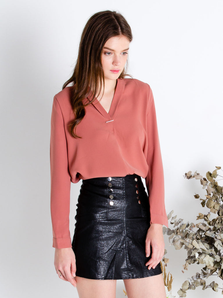 Minimalist Blouse in Coral