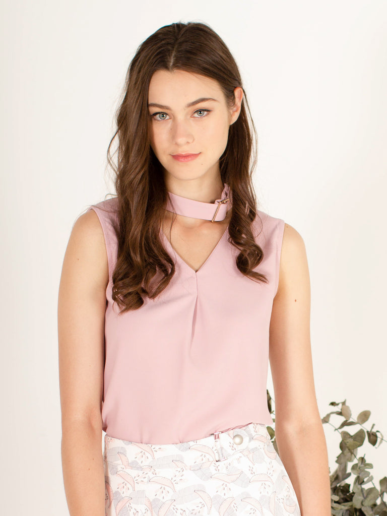Sweet Choker Neckline Top