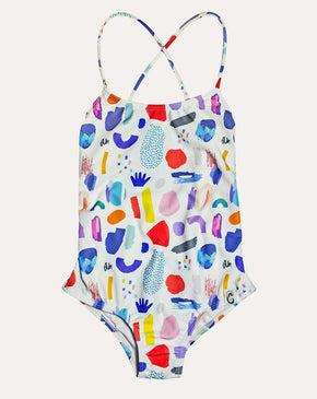 White Jungle Mix Action-Back Swimsuits