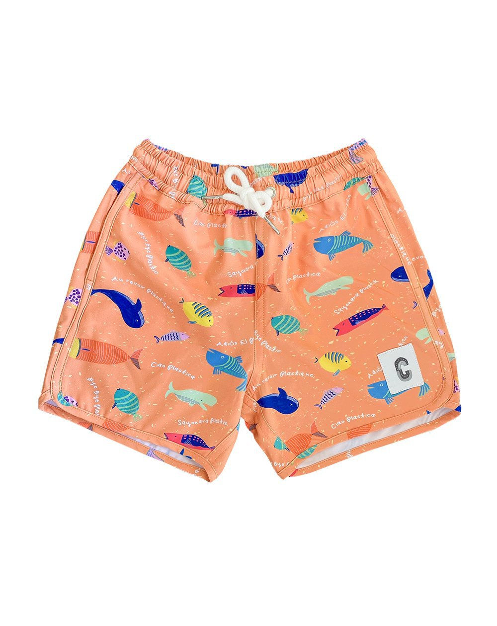 Bye Bye Plastic Orange Quick Dry Beach Shorts