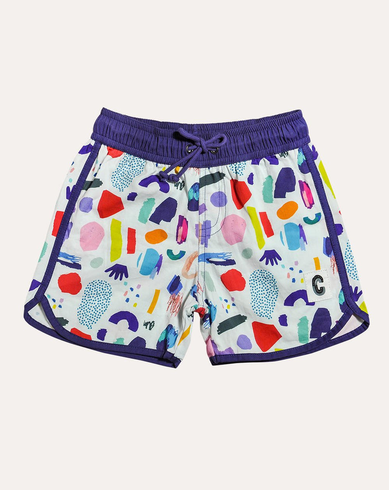 White Jungle Mix Organic Cotton Beach Shorts