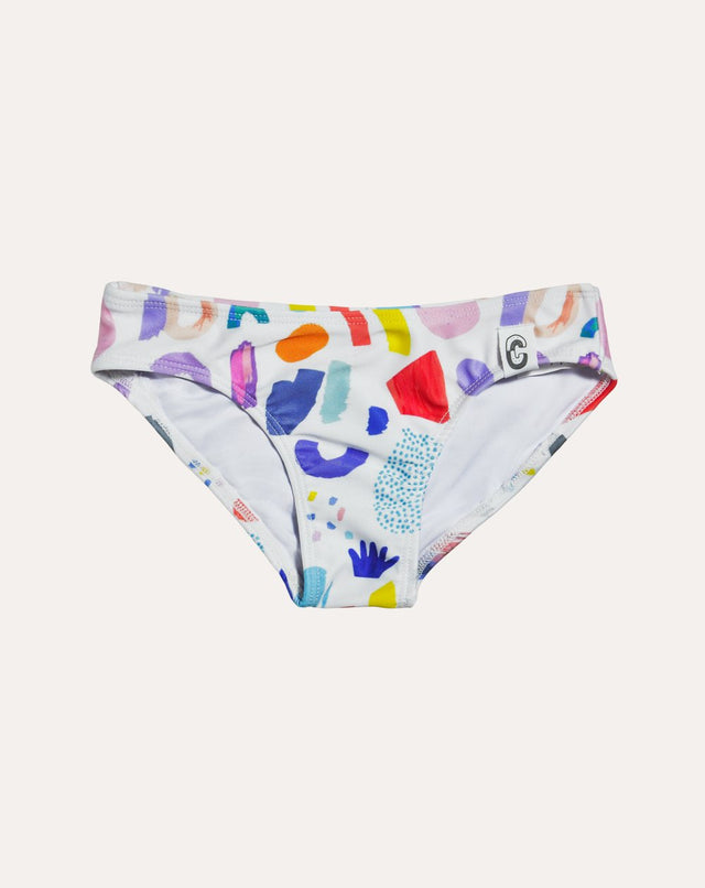 White Jungle Mix Plain Bikini Bottom