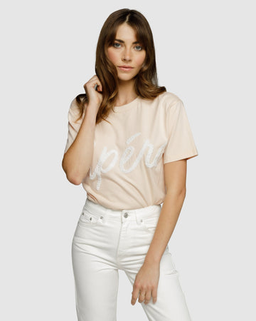 Apero- Grande Beaded Tee - Cream Beige / White Bead