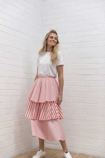 Bande Studio - Tiered Stripe Skirt - Candy Red Stripe