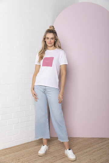 Bande Studio - Square Logo T-Shirt - White with Hot Pink