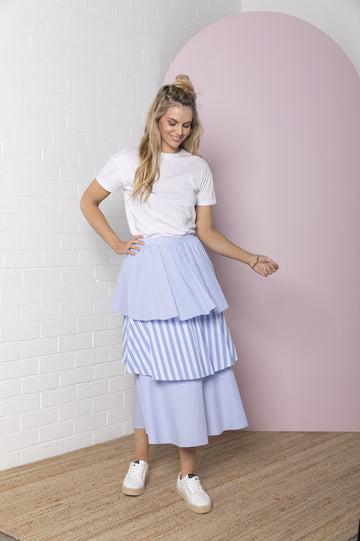 Bande Studio - Tiered Stripe Skirt - Marine Blue Stripe