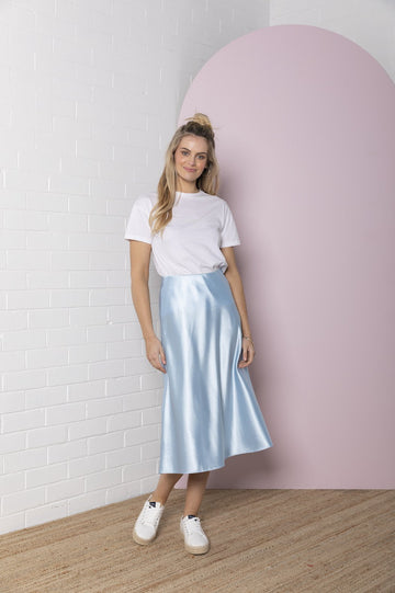 Bande Studio - Satin Skirt - Powder Blue