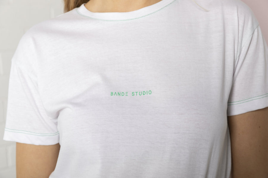 Bande Studio - Mini Logo T-Shirt - White with Emerald Green