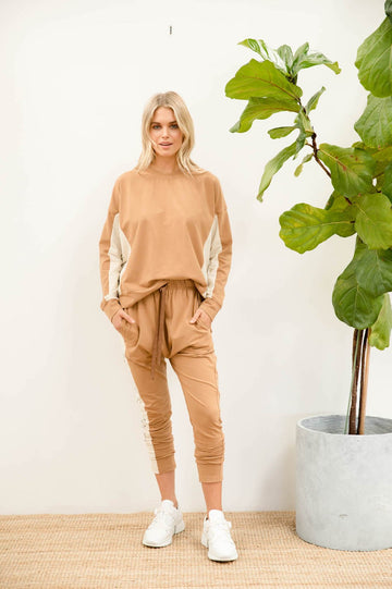 Bande Studio - Grace Colourblock Sweat - Mocha with Stone