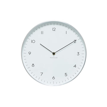 Milk & Sugar - Maple Clock Silver 30cm