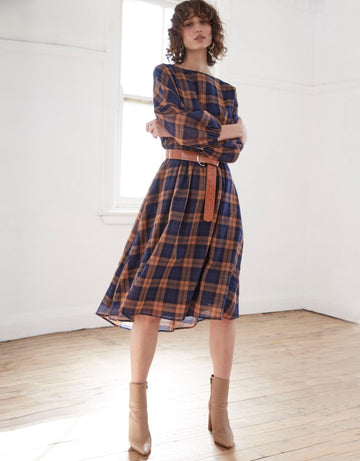 Apartment Clothing - Check Full Sleeve Midi Dress