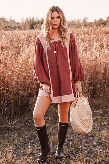 Bohemian Traders - Billow Sleeve Tunic Dress - Baked Rose
