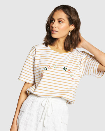 Apero - Club D'amour Embroidered Tee - Beige Stripe / Multi