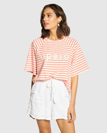 Apero - Brillante Oversized Tee - Coral / White Stripe