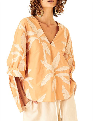 Apartment Clothing - Palm Tie Sleeve Top