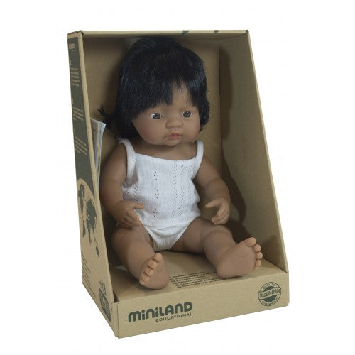 Miniland Doll - Anatomically Correct Baby - Hispanic/Latin American Girl - 38 cm