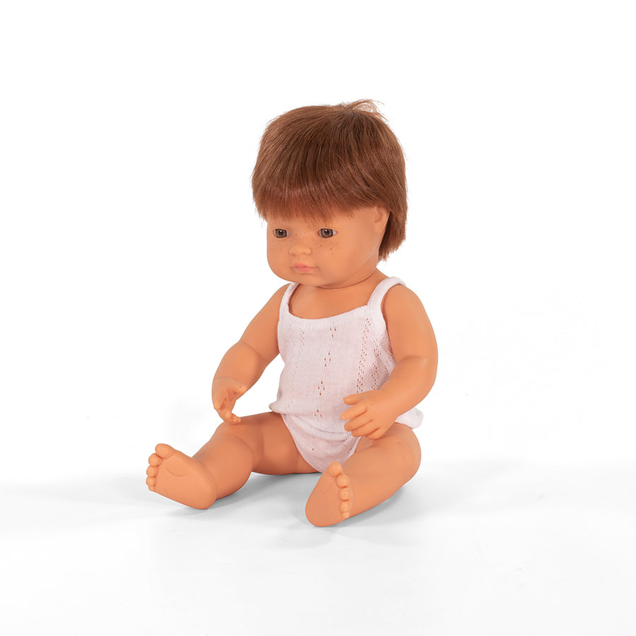 Miniland Doll - Anatomically Correct Baby - Caucasian Boy - Brunette 38cm