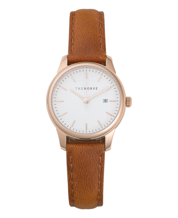 The Horse - Ivy Girl - Polished Rose Gold Case / White Dial / Tan Leather Strap