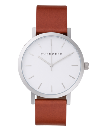 The Horse - The Original: Polished Steel / White Face / Tan Leather