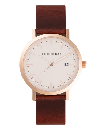 The Horse - Original Rose Gold case / blush dial / wine strap