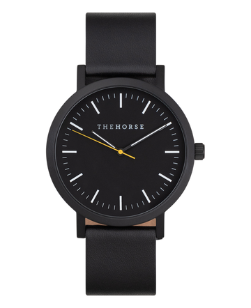 The Horse - The Original Watch - Matte Black / Black Dial / Black Leather Strap