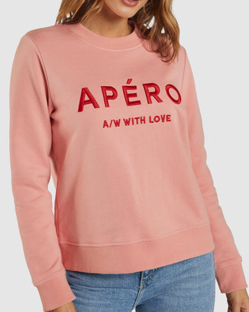 Apero - A/W with Love Embroidered Jumper - Peach Kiss / Red