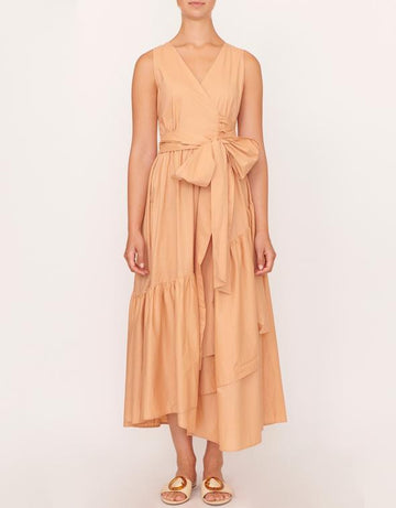 Apartment Clothing - Cotton Topstitch Wrap Dress - Caramel