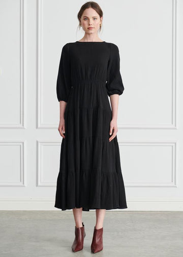 Apartment - Liza Tiered Maxi Dress - Black