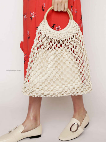 AngelsWhisper - Daleyza Crochet Wooden Handle Summer Bag