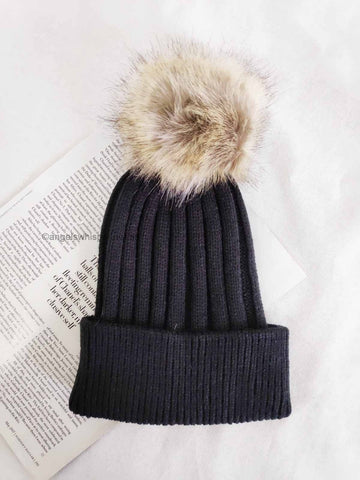 Angels Whisper - Appolina Knitted Beanie with Faux Fur Pom - Black