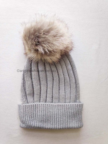 Angels Whisper - Appolina Knitted Beanie with Faux Fur Pom - Grey