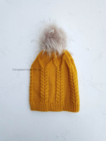 Angels Whisper Lyric Pom Beanie - mustard