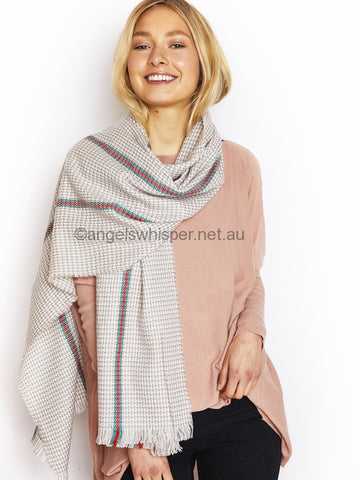 Angels Whisper - Small Houndstooth Pattern Scarf with Stripe Details