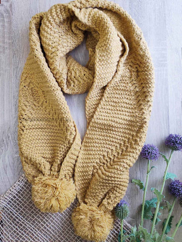 Angels Whisper - Afra Cable Knit Scarf with Self Fabric Pom - Mustard