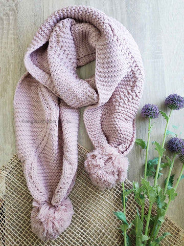 Angels Whisper - Afra Cable Knit Scarf with Self Fabric Pom - Pink
