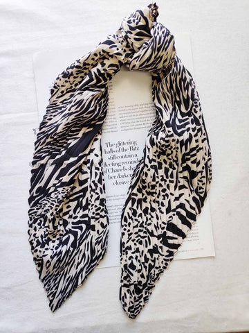 Angels Whisper - Mia Black and White Animal Print Scarf