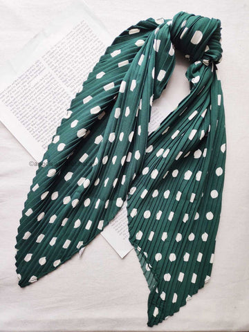 Angels Whisper Natalia polka dots crinkled bandana scarf - green