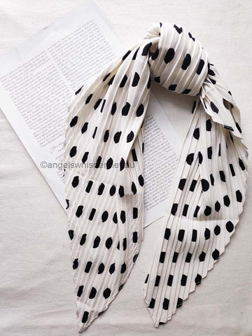 Angels Whisper Natalia Polka Dots Crinkled Bandana Scarf - White