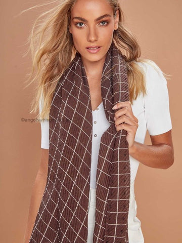 Angels Whisper - Milla check lightweight scarf - brown