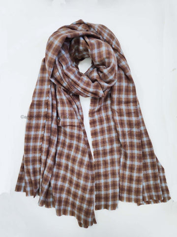 Angel Whisper - Jessie Checked Long Scarf - Brown