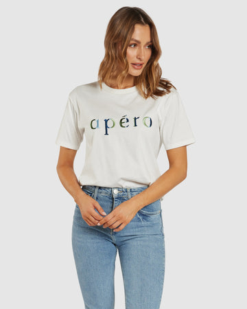 Apero - Journey Embroidered Tee - White / Multi