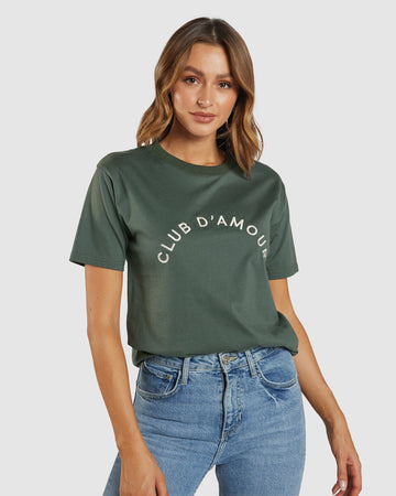 Apero - Club D'Amour Embroidered Tee - Emerald / Cream